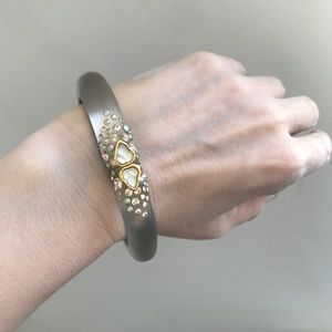 Alexis Bittar Hinged Bracelet Crystals Gold Cuff